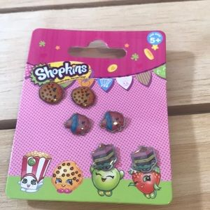 Shopkins Girls Earrings 3 Pair Set Kooky Cookie